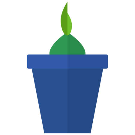 germinate: Green plant in a flower pot icon, vector illustration flat style design isolated on white. Colorful graphics Illustration