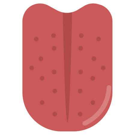lingual: Human tongue organ icon, vector illustration flat style design isolated on white. Colorful graphics