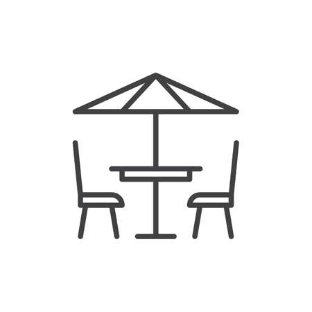 Terrace cafe line icon, outline vector sign, linear style pictogram isolated on white. Symbol, logo illustration. Editable stroke. Pixel perfect vector graphics Vectores