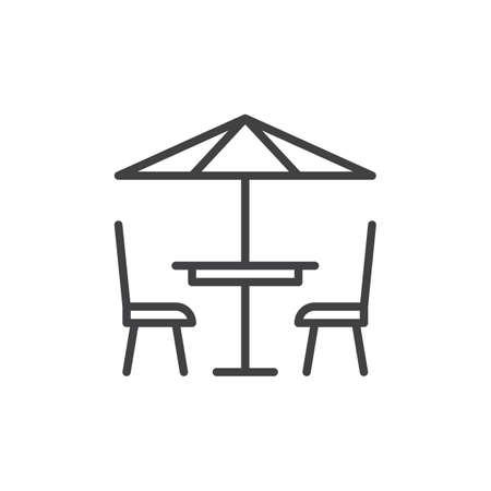 Icona della linea del caffè del terrazzo, segno di vettore del profilo, pittogramma lineare di stile isolato su bianco. Simbolo, illustrazione logo. Tratto modificabile Pixel grafica vettoriale perfetta Archivio Fotografico - 82623714