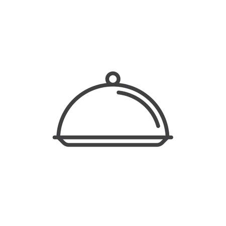 Salver dish with food cover line icon, outline vector sign, linear style pictogram isolated on white. Symbol, logo illustration. Editable stroke. Pixel perfect vector graphics Illustration