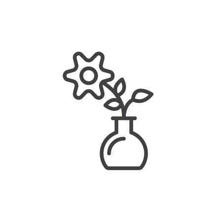 flowerpots: Flower line icon, outline vector sign, linear style pictogram isolated on white. Home plant symbol, logo illustration. Editable stroke. Pixel perfect vector graphics