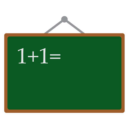 Hand drawn chalk numbers and math signs on a chalkboard icon, vector illustration flat style design isolated on white. Colorful graphics