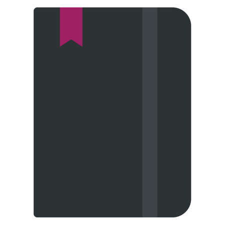 Moleskin notebook icon, vector illustration flat style design isolated on white. Colorful graphics Illustration