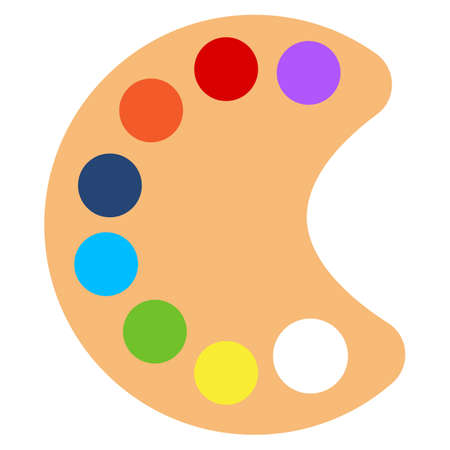 pallette: Art paint pallette icon, vector illustration flat style design isolated on white. Colorful graphics