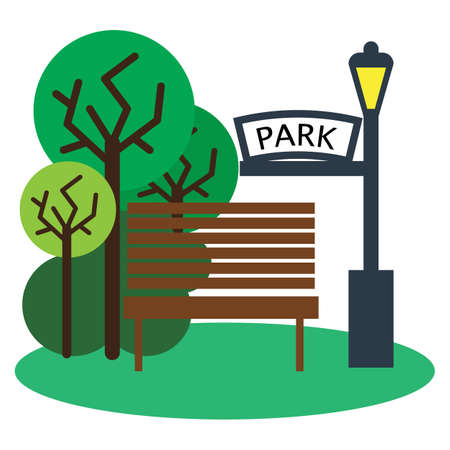 green lantern: Park with bench and streetlight icon, vector illustration flat style design isolated on white. Colorful graphics