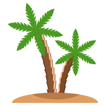 Palm trees beach icon, vector illustration flat style design isolated on white. Colorful graphics