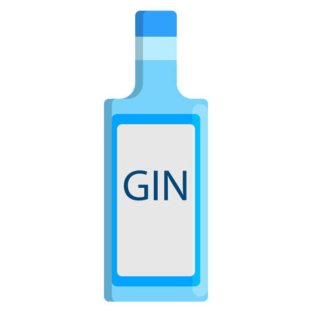 unlabelled: Gin bottle alcoholic beverage flat icon vector sign, colorful pictogram isolated on white. Illustration