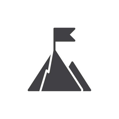 opportunity sign: Top of mountain with flag icon vector, filled flat sign, solid pictogram isolated on white. Goal symbol, logo illustration. Pixel perfect vector graphics Illustration