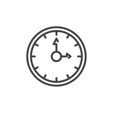 Clock line icon, outline vector sign, linear style pictogram isolated on white. Time symbol, logo illustration. Editable stroke. Pixel perfect vector graphics