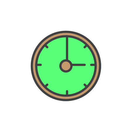 filled: Clock filled outline icon, line vector sign, linear colorful pictogram isolated on white. Time symbol, logo illustration. Pixel perfect vector graphics
