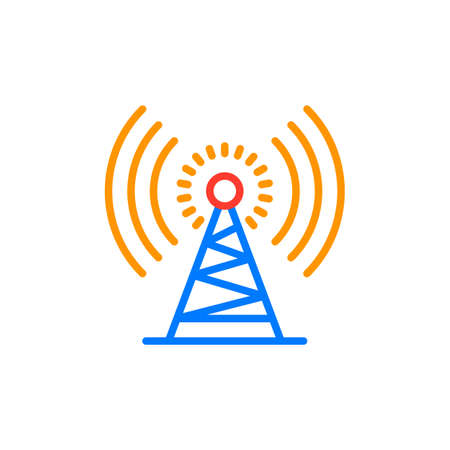 Antenna tower outline icon, line vector sign, linear colorful pictogram isolated on white. Radio signal symbol, logo illustration. Pixel perfect vector graphics