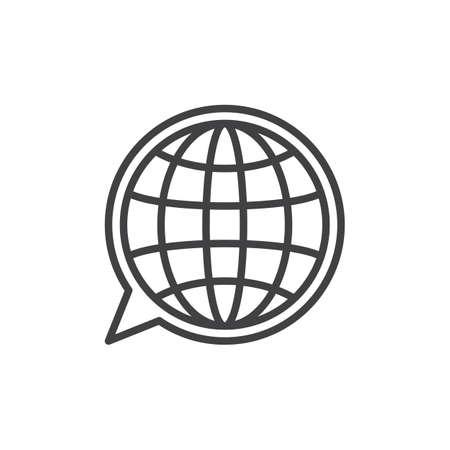 Taal lijn pictogram, overzichts vector teken, lineaire stijl pictogram geïsoleerd op wit. Bol binnen het symbool van de toespraakbel, embleemillustratie. Bewerkbare streek. Pixel perfecte vectorafbeeldingen