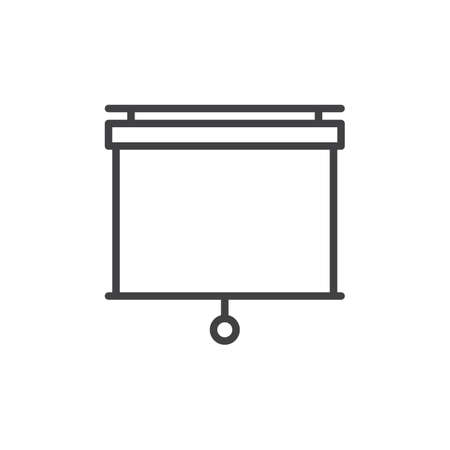 Pull down projector screen line icon, outline vector sign, linear style pictogram isolated on white. Presentation white screen symbol, logo illustration. Editable stroke. Pixel perfect vector graphics Illustration