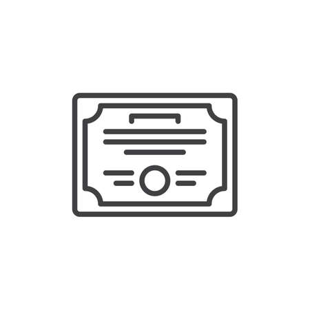 Certificate line icon, outline sign, linear style pictograph.