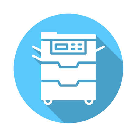 Copy machine flat icon. Round colorful button, Document copier circular sign with long shadow effect. Flat style design