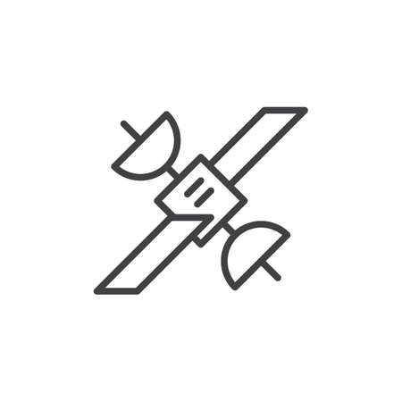 wireless communication: Satellite line icon, outline sign, linear style pictogram isolated on white. Symbol, illustration. Editable stroke. Pixel perfect