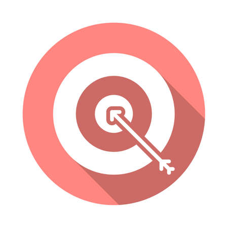 aim: Target, goal flat icon. Round colorful button, Bullseye circular vector sign with long shadow effect. Flat style design