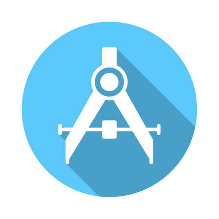 Drafting compass flat icon. Round colorful button, circular vector sign with long shadow effect. Flat style design