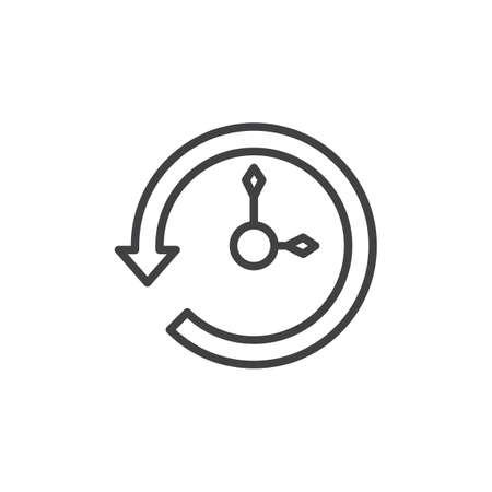 歴史タイムライン アイコン、アウトライン記号、直線的なスタイルのピクトグラムが白で隔離。バックアップの復元のシンボルの図。編集可能なス  イラスト・ベクター素材