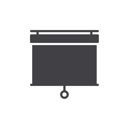 Pull down projector screen icon vector, filled flat sign, solid pictogram isolated on white. Presentation white screen symbol, logo illustration. Pixel perfect vector graphics
