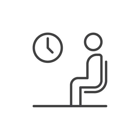 Waiting room line icon, outline vector sign, linear style pictogram isolated on white. Symbol, logo illustration. Editable stroke. Pixel perfect vector graphics Illustration