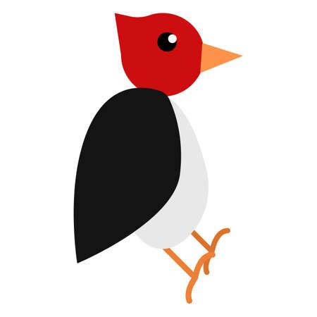Woodpecker animal flat icon, vector sign, colorful pictogram isolated on white. Symbol, logo illustration. Flat style design