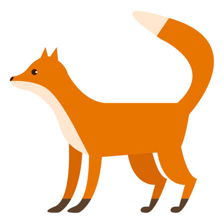 cute: Fox wild animal flat icon, vector sign, colorful pictogram isolated on white. Symbol, logo illustration. Flat style design Illustration