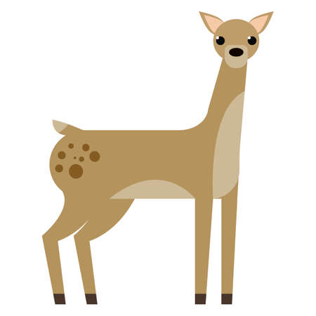 Deer wild animal flat icon, vector sign, colorful pictogram isolated on white. Symbol, logo illustration. Flat style design Illustration