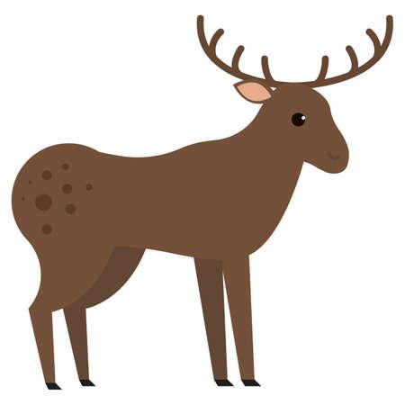 Moose wild animal flat icon, vector sign, colorful pictogram isolated on white. Symbol, logo illustration. Flat style design