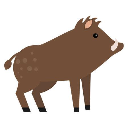 eber: Flache Ikone des wilden Ebers, Vektorzeichen, buntes Piktogramm lokalisiert auf Weiß. Symbol, Logo Abbildung. Flache Design Illustration