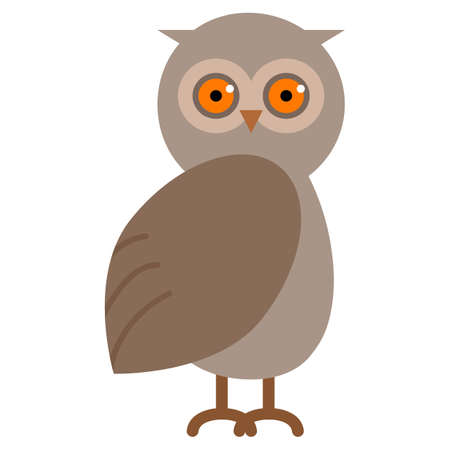owl illustration: Wild owl animal flat icon, vector sign, colorful pictogram isolated on white. Symbol, logo illustration. Flat style design Illustration