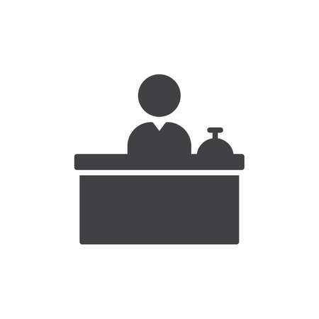 Front Desk icon vector, filled flat sign, solid pictogram isolated on white. Reception symbol, logo illustration. Pixel perfect vector graphics Stock Illustratie
