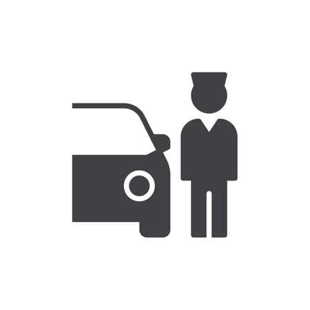 Vecteur d'icône valet parking, rempli de signe plat, pictogramme solide isolé sur blanc. Symbole, illustration de logo Pixel perfect vector graphics Banque d'images - 84891367