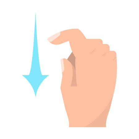 Swipe down touch screen gestures vector illustration. Flat style design. Colorful graphics