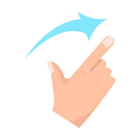 Flick right touch screen gestures vector illustration. Flat style design. Colorful graphics Illustration