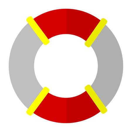 Lifebuoy safety equipment flat icon, vector sign, colorful pictogram isolated on white. Symbol, logo illustration. Flat style design