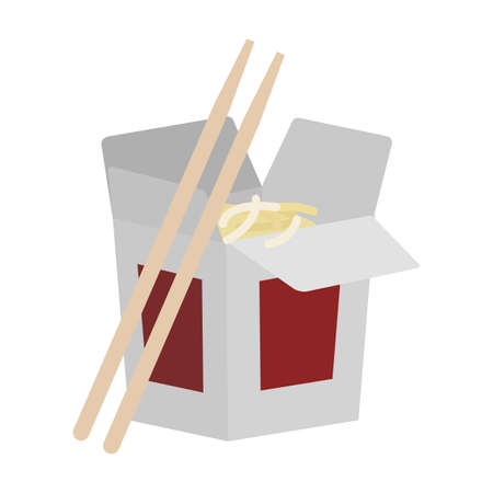 chinese food container: Take away food chinese noodles flat icon, vector sign, colorful pictogram isolated on white. Symbol, logo illustration. Flat style design Illustration