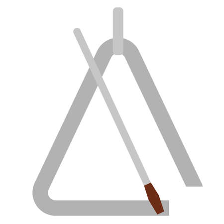 Triangle with metal stick musical instrument flat icon