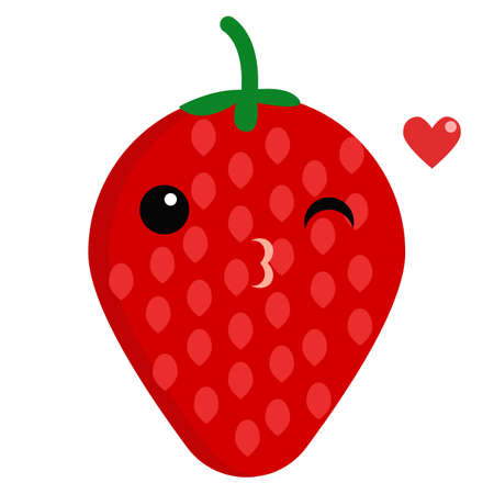 Strawberry face emoji blowing a kiss vector illustration. Flat style design. Colorful graphics