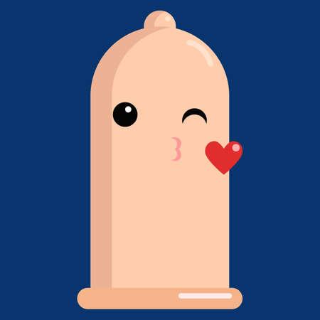 Face blowing a kiss condom emoji