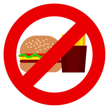 Do not eat fast food and drinks soda prohibition sign vector illustration. Flat style design. Colorful graphics