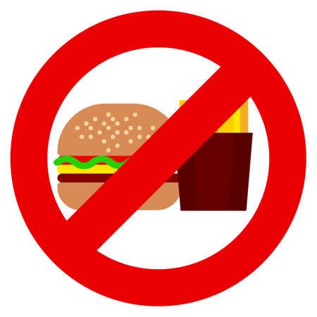 Eet geen fastfood en drankjes soda verbod teken vector illustratie. Vlakke stijl ontwerp. Kleurrijke afbeeldingen Stockfoto - 85425298