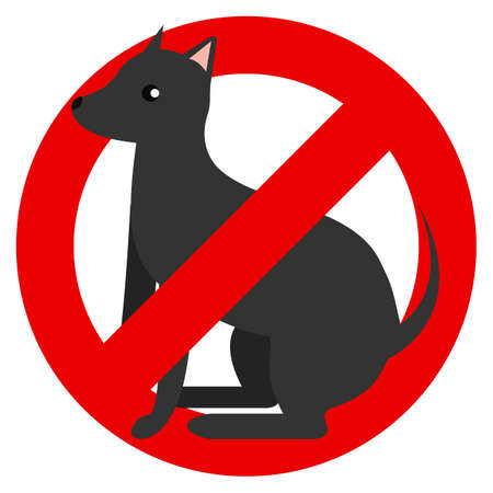 No dog prohibition sign vector illustration. Flat style design. Colorful graphics