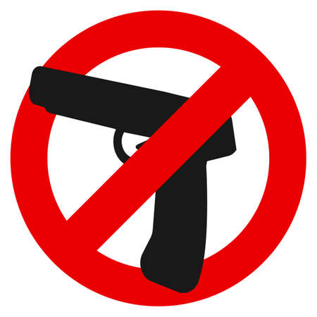 No weapon prohibition sign vector illustration. Flat style design. Colorful graphics