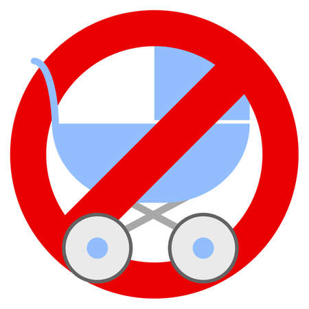 No strollers or baby carriage prohibition sign vector illustration. Flat style design. Colorful graphics
