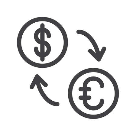 Exchange Rate Line Icon Outline Vector Sign Linear Style Pictogram