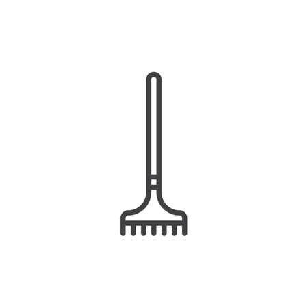 Rake line icon, outline sign, linear style pictogram isolated on white. Editable stroke.