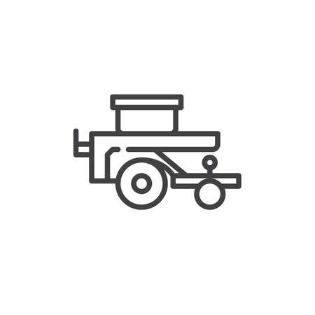 planter: Wheelbarrow planter line icon.