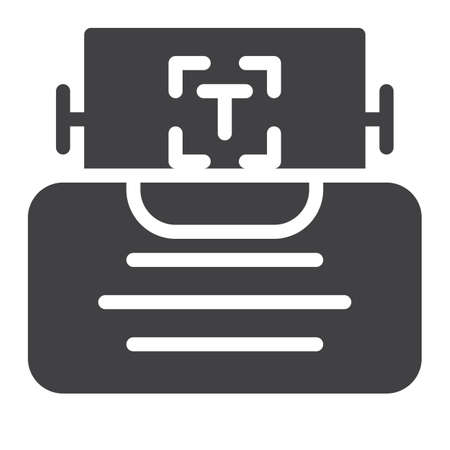 type writer: Typewriter icon vector, filled flat sign, solid pictogram isolated on white. Symbol, logo illustration.